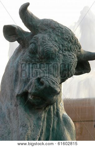 Head of statue of black bull in Nice, France