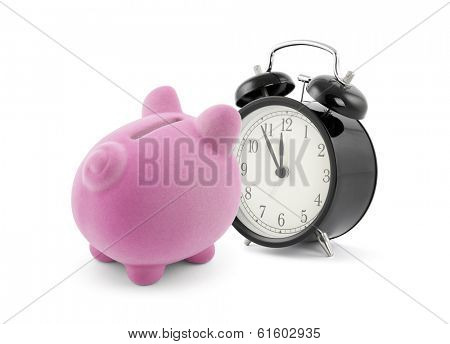 Piggy bank with alarm clock
