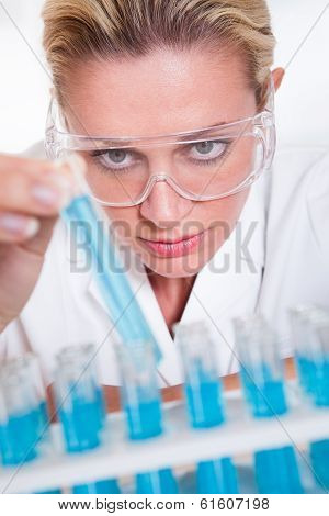 Lab Technician Woman Looking At Testubes