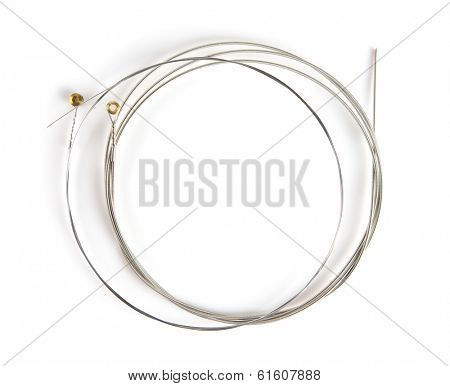 Brand new guitar string, isolated on white. Wound string and plain string.