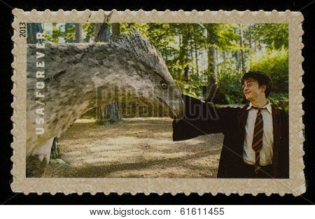 UNITED STATES - CIRCA 2013: postage stamp printed in USA showing an image of Harry Potter a Harry Potter main character, circa 2013.