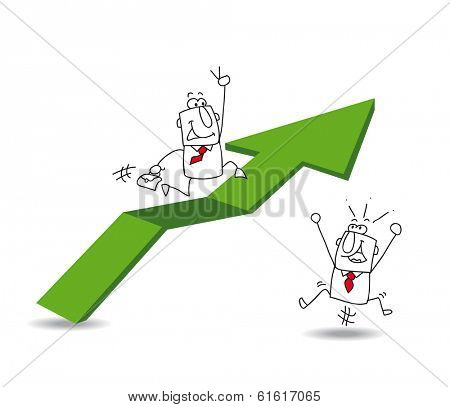 Joe the businessman is falling off the red arrow. It's a metaphor of the economic crisis