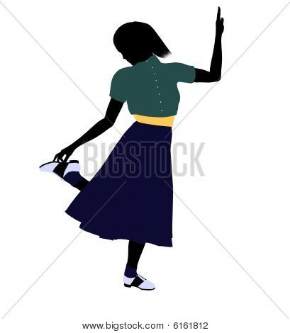 50's female dancer art illustration silhouette on a white background poster