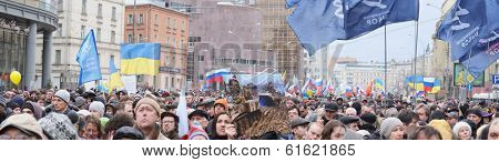 MOSCOW - MARCH 15: Panorama of protest manifestation of muscovites against war in Ukraine and Russia's support of separatism in the Crimea, Circular Boulevards in Moscow, Russia on March, 15, 2014.