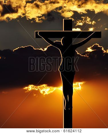 Crucifixion of Jesus Christ at Sunset