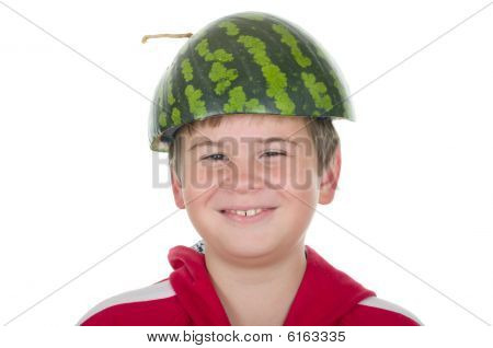 Boy In A Cap From A Water-melon