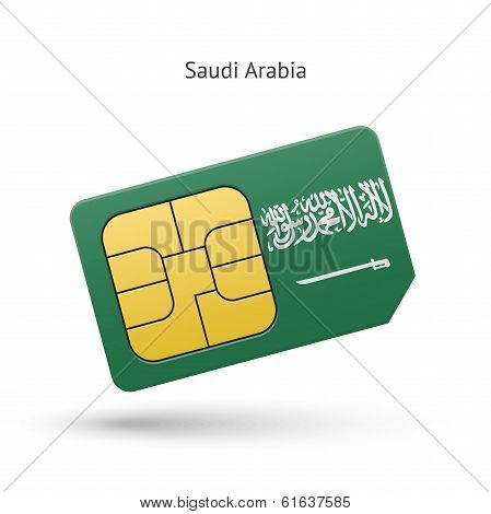 Saudi Arabia mobile phone sim card with flag.