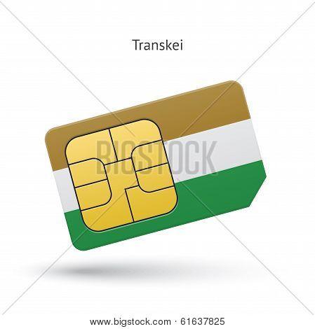 Transkei mobile phone sim card with flag.