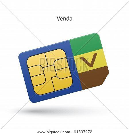 Venda mobile phone sim card with flag.