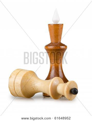 wood chess isolated on a white background