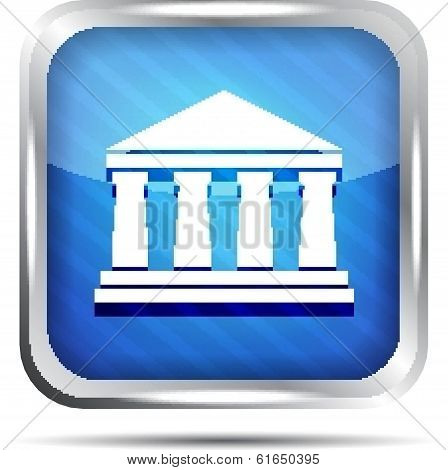 blue striped bank icon on a white background