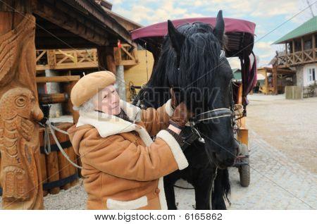 Elderly Woman Near Horse