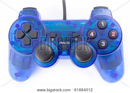 Isolated Of The Blue Joystick For Controller And Play Video Game On White Background