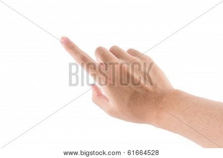 Isolated Of The Hand With Pointing Symbol Is Touch To Screen On White Background