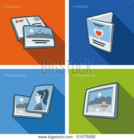 Printouts Icon Set Of Postcard, Invitation, Photo Frame And Picture Frame