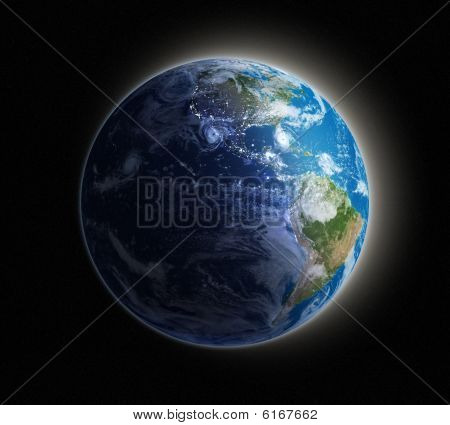 Night view of the Earth from space