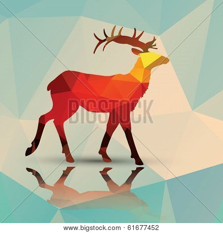 Geometric polygonal deer, pattern design, vector illustration poster