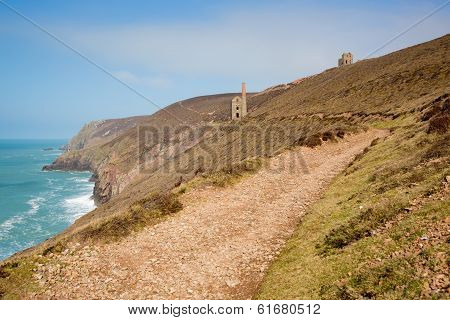 Cornwall coast tin mine England UK near St Agnes Beacon on the South West Path known as Wheal Coates