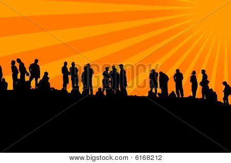 Human shapes in line with sun background poster