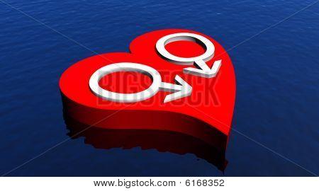 Gay men couple in red heart floating in the ocean
