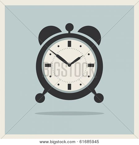 Alarm Clock on Retro Blue Background Vector