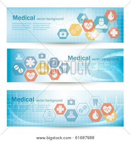 Three medical banners with flat icons. Vector.