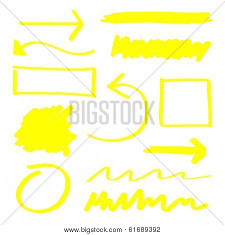 Yellow highlighter elements set