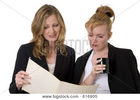 Coworkers Discussing A File