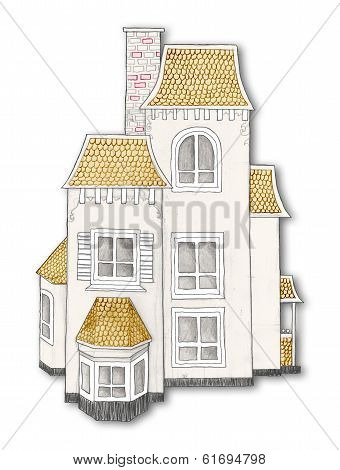 Hand Drawn House With Clipping Path