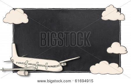 Empty Frame With Airplane
