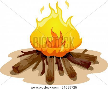 Illustration Featuring a Camp Fire Burning Brightly