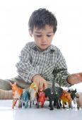 Animals toys isolated and kid is joing poster