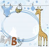 Cute scrapbook  for boy with baby elements. poster