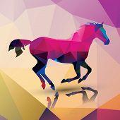 Geometric polygonal horse, pattern design, vector illustration poster