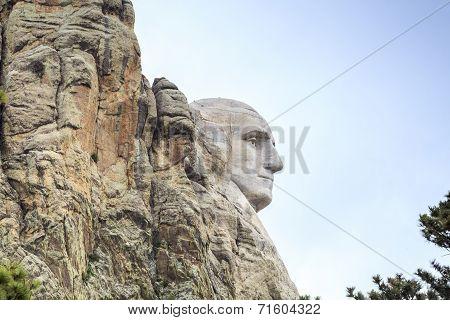 Profile of George Washington on Mount Rushmore.