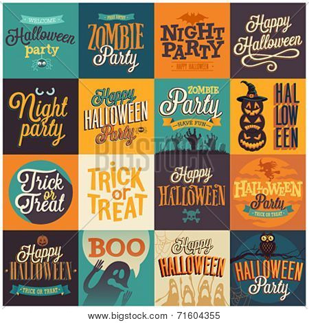Halloween emblems set. Vector illustration.