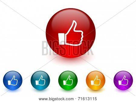 thumbs up internet icons colorful set