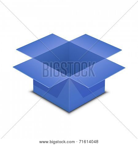 Open blue box. Vector illustration of blue box