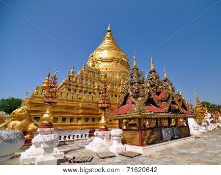 Shwezigon Paya Pagoda Landmark in Bagan Myanmar. poster