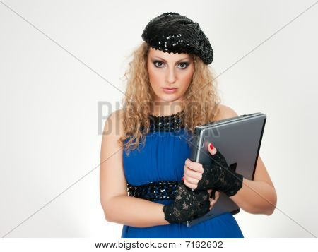Girl Brown Hair And Laptop