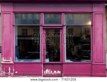 Old purple shop in Paris with lots of copy space