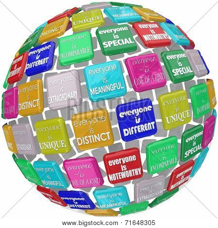 Everyone is unique, extraordinary, distinct, special, incomprable, different and one of a kind words on titles in a 3d globe or sphere
