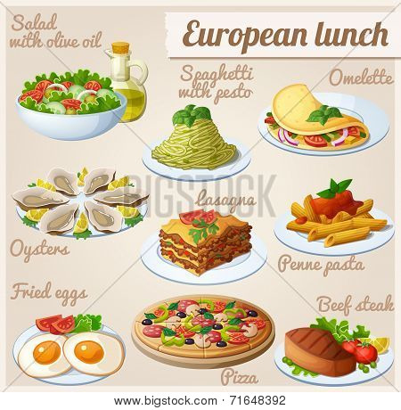 Set of food icons. European lunch