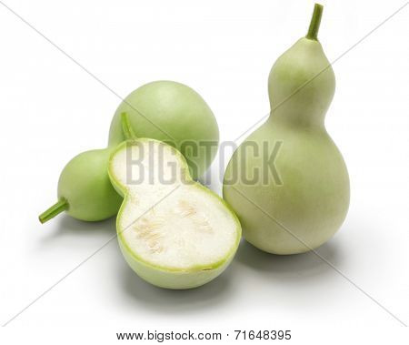 edible green calabash isolated on white background