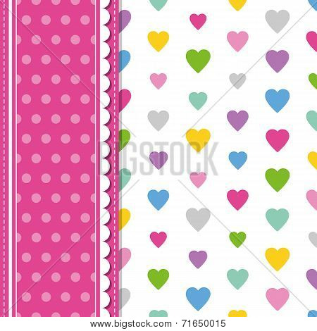 hearts and polka dot greeting card