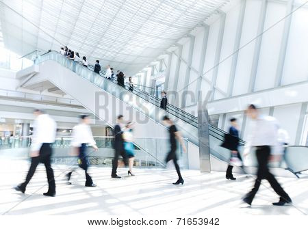 Business People in Asia, Hong Kong. Tilt shift lense with selective focus. Blurred motion.