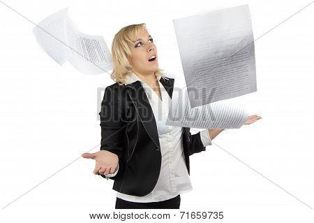 Portrait of surprised business woman