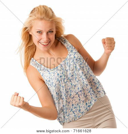 Beautiful Young Woman With Blonde Hair And Blue Eyes Gestures Success With Holding Her Fists In The