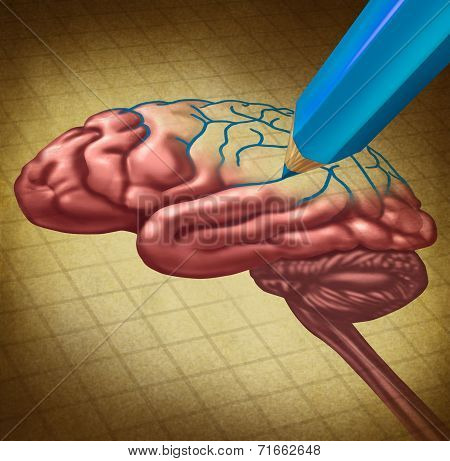 Repairing the brain and restoring lost memory medical concept as a human thinking organ with a missing portion being redrawn with a blue pencil as a symbol and poster