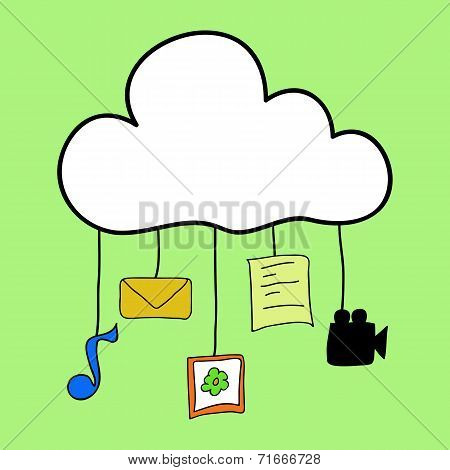 Cloud computing in doodle style